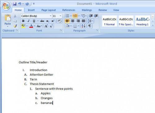 Comment faire un plan dans Microsoft Word 2007