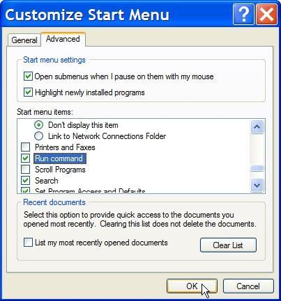 Comment restaurer sur Exécuter dans Windows XP